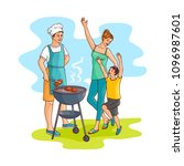 hand drawn family at barbeque... | Shutterstock .eps vector #1096987601