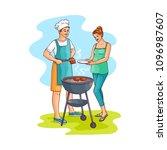 hand drawn man standing near... | Shutterstock .eps vector #1096987607