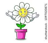 grinning daisy flower character ... | Shutterstock .eps vector #1097020871