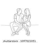 vector  sketch people sit   Shutterstock .eps vector #1097021051