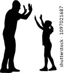 give me five  father and... | Shutterstock .eps vector #1097021687