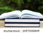 book with open empty white... | Shutterstock . vector #1097030849