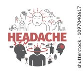 headache banner. symptoms.... | Shutterstock .eps vector #1097040617