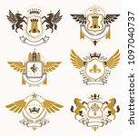 set of vector vintage emblems... | Shutterstock .eps vector #1097040737