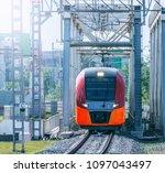 highspeed train moves toward on ... | Shutterstock . vector #1097043497