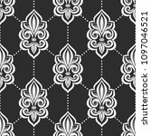 black and white fleur de lis... | Shutterstock .eps vector #1097046521