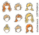 collection of women faces ... | Shutterstock .eps vector #1097048414