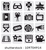 vector black movie technology... | Shutterstock .eps vector #109704914