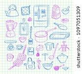 vector kitchen utensils doodle... | Shutterstock .eps vector #1097051309