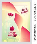 birthday vector greeting card....   Shutterstock .eps vector #1097052371