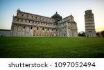 leaning tower of pisa in pisa ... | Shutterstock . vector #1097052494