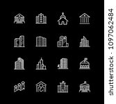 set of city buildings line icons | Shutterstock .eps vector #1097062484