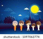 buddhists walking with lighted... | Shutterstock .eps vector #1097063774