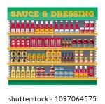 supermarket shelf display with... | Shutterstock .eps vector #1097064575