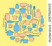 beige and blue kitchenware in...   Shutterstock . vector #1097065415