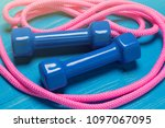 blue dumbbells and pink... | Shutterstock . vector #1097067095