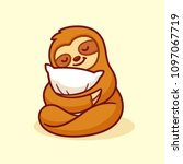 cute sloth sleeping with pillow.... | Shutterstock .eps vector #1097067719