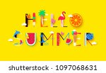 hello summer background with... | Shutterstock .eps vector #1097068631