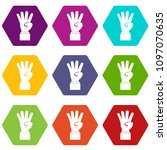 hand showing number four icon... | Shutterstock . vector #1097070635
