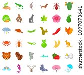 leaf icons set. cartoon style... | Shutterstock . vector #1097073641