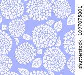 hydrangea flower seamless... | Shutterstock .eps vector #1097075801