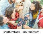 happy friends cheering with...   Shutterstock . vector #1097084024