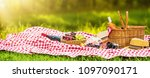 picnic on a sunny day with red... | Shutterstock . vector #1097090171