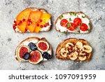 healthy breakfast toasts with...   Shutterstock . vector #1097091959