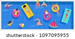 top view beach background  pool ... | Shutterstock .eps vector #1097095955