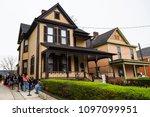 february 23  2018. birth home... | Shutterstock . vector #1097099951