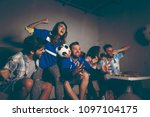 group of young friends watching ... | Shutterstock . vector #1097104175