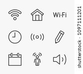 set wi fi line icon stock... | Shutterstock .eps vector #1097111201