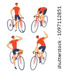 road cyclist man set. isolated... | Shutterstock .eps vector #1097112851