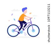 happy boy riding bicycle... | Shutterstock .eps vector #1097113211