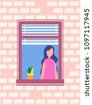 woman stands near open window ...   Shutterstock .eps vector #1097117945