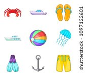 boat voyage icons set. cartoon... | Shutterstock . vector #1097122601