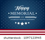 vector happy memorial day blue... | Shutterstock .eps vector #1097123945