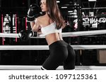 young athlete woman in boxing... | Shutterstock . vector #1097125361