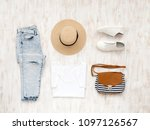 white t shirt  blue ripped... | Shutterstock . vector #1097126567