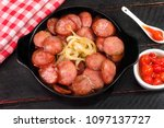 sliced and fried calabrese... | Shutterstock . vector #1097137727