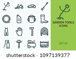 garden tools icons set. set of... | Shutterstock .eps vector #1097139377