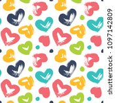 seamless pattern with hearts....   Shutterstock .eps vector #1097142809