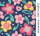 seamless pattern with flowers.... | Shutterstock .eps vector #1097142821