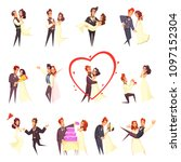 newlyweds cartoon set  bride... | Shutterstock .eps vector #1097152304