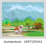 indian paddy agriculture | Shutterstock .eps vector #1097155241