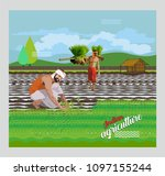 indian paddy agriculture | Shutterstock .eps vector #1097155244