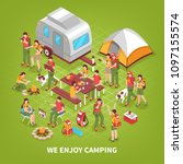 family camping vacation trips... | Shutterstock .eps vector #1097155574