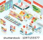 supermarket isometric vector... | Shutterstock .eps vector #1097155577
