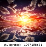 abstract sunset over water... | Shutterstock . vector #1097158691