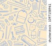 blue outline stationery random... | Shutterstock .eps vector #1097158961